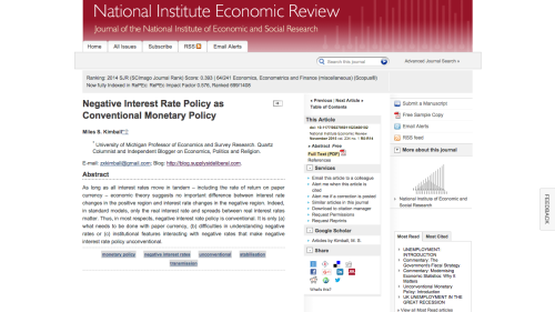 "Links to  pdf of ""Negative Interest Rate Policy as Conventional Monetary Policy""  and to the  abstract page on the National Institute Economic Review website . Thanks to the National Institute Economic Review for permission to post the full text of the paper here."