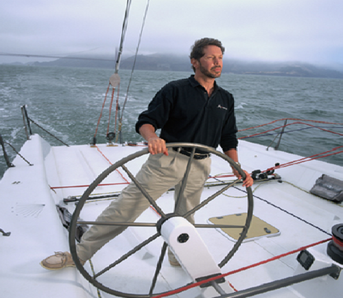 Larry Ellison, 5th richest on the Forbes list, on one of his smaller yachts