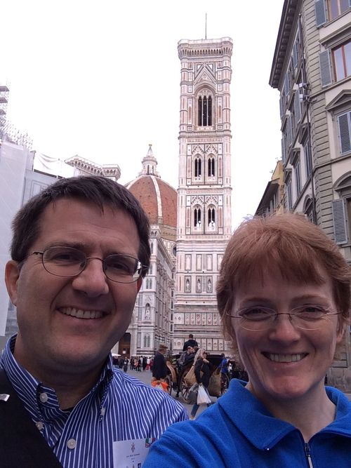 Link to Gail's blog on Tumblr: gailkimball.tumblr.com. Photo of Miles and Gail in front of the Basilica di Santa Maria del Fiore in Florence.