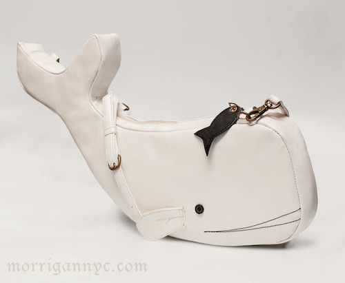white whale handbag with black minnow zipper pull