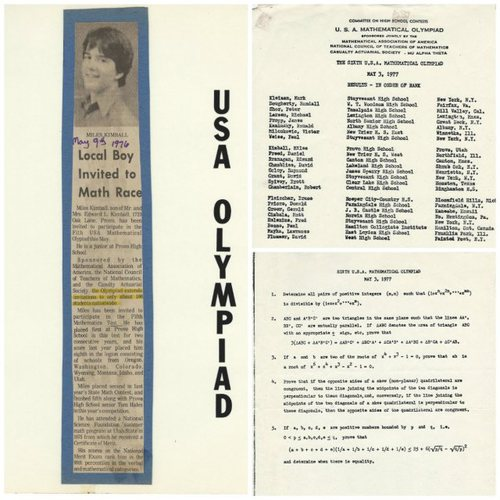 Left: an article from 1976 when Miles placed 23rd in the US Math Olympiad; top: in 1977 Miles placed 9th in the competition; bottom: questions from the 1977 USA Math Olympiad.