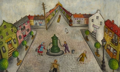 "Image source: "" Chana Kowalska's painting 'The Shtetl', painted in 1934, shows a traditional Shtetl in Eastern Europe during the 1930s. """