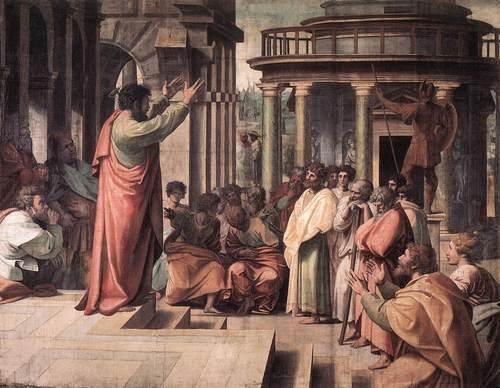 Saint Paul preaching in Athens  by Rafaello Sanzio da Urbino (Raphael)