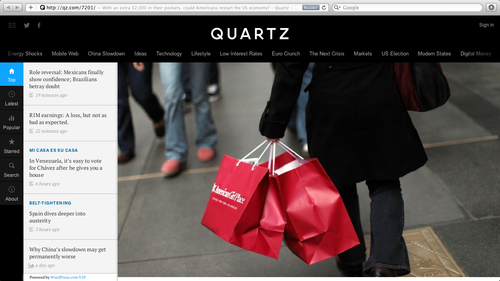 "Screen shot of the illustration for my column  ""More Muscle than QE3: With an Extra $2000 in their pockets, could Americans restart the U.S. economy?""  on the Quartz website."