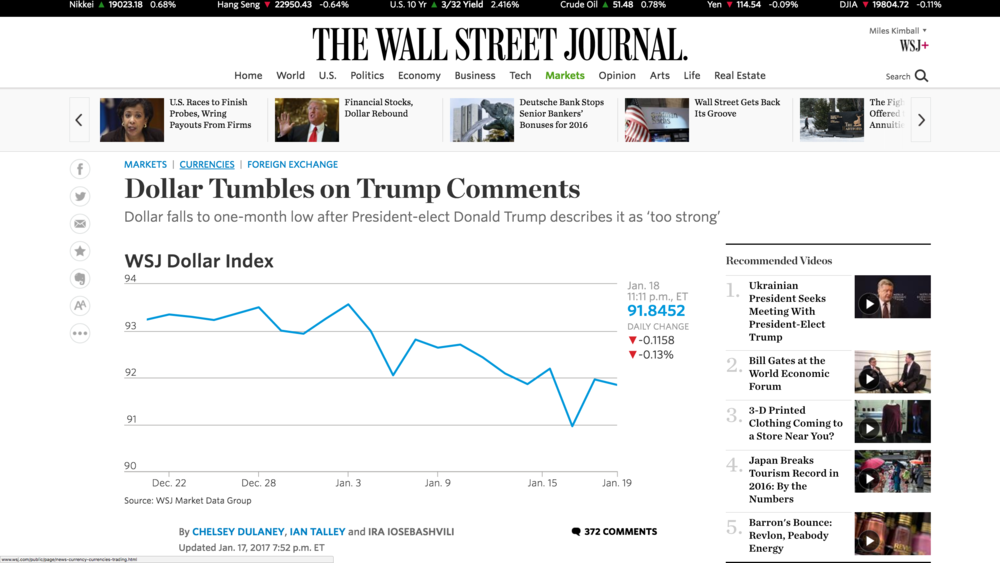 "Link to Chelsey Dulaney, Ian Talley and Ira Iosebashvili's January 17, 2017 Wall Street Journal article ""Dollar Tumbles on Trump's Comments"""