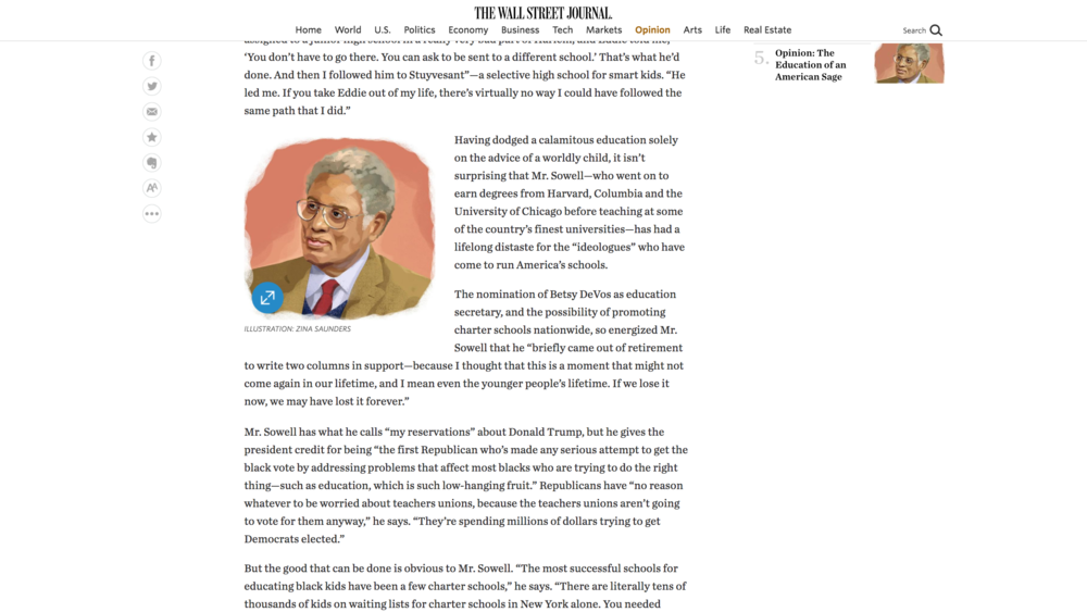 "Link to Tunku Varadarajan's interview of Thomas Sowell for the Wall Street Journal: ""The Education of an American Sage"""