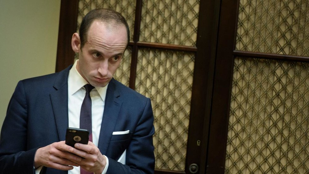 Link to the Wikipedia article on Stephen Miller—Donald Trump's chief speech writer. Image source.