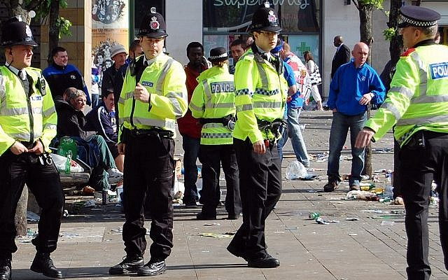 British policemen in Manchester (illustrative photo credit: Wikimedia Commons)