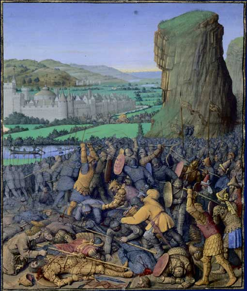 """Link to the Wikipedia article for """"Saul."""" Above is an image of the painting  """"The Battle of Gilboa,"""" by  Jean Fouquet . As Wikipedia notes, """"the protagonists [are] depicted anachronistically with 15th Century armour."""""""