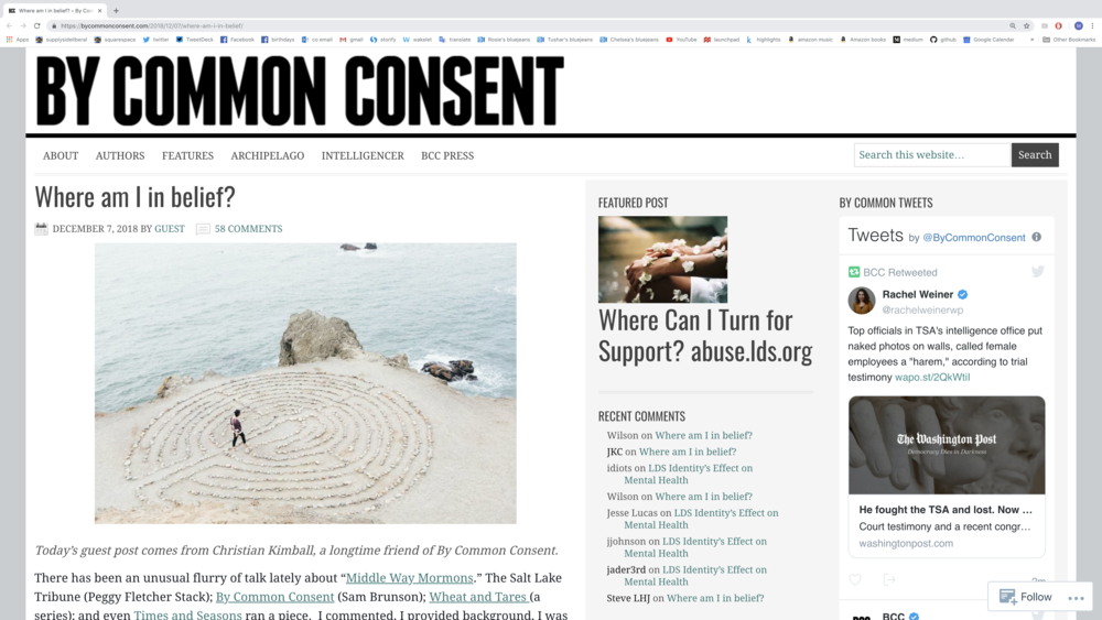 "Link to Chris's guest post as it originally appeared on the ""By Common Consent"" blog"