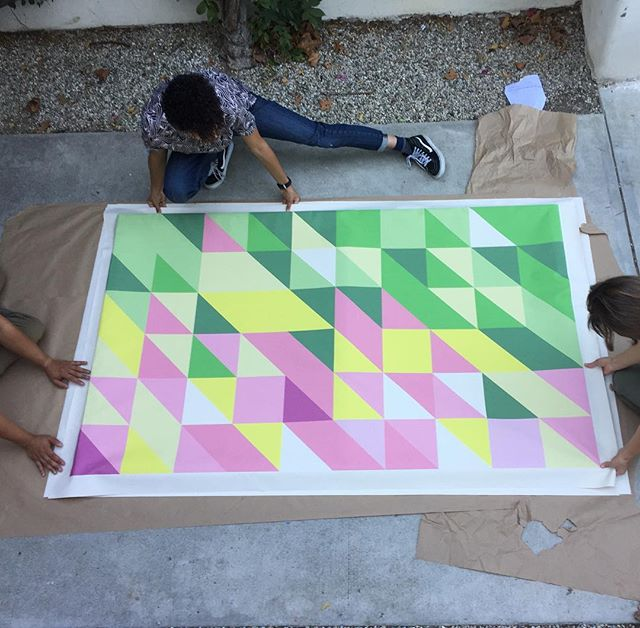 "Getting ready for Monday's temporary installation for the Glendale Pedestrian Plan. One of seven panels, each triangle is a community response to the question, ""What would make you walk more in Glendale?"" #popup #herela #communityfeedback #glendalewalks #pedestriansafety #artinthecity #makingthecitybeautiful #bestreetsmartglendale #tacticalurbanism"