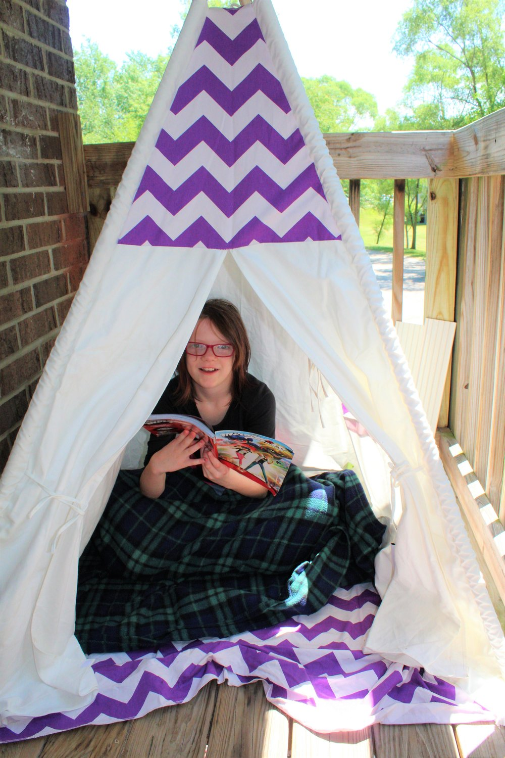 This is just one of the fun products we got in the mail to help spread the word. My daughter love checking the mail box another favorite was a necklace from an instagram friend of ours. This teepee was a big hit and got a ton of views. Bella loves playing with it in the summer on our deck