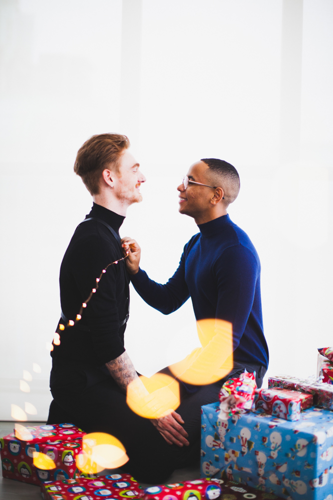 Toronto gay christmas card engagement photoshoot
