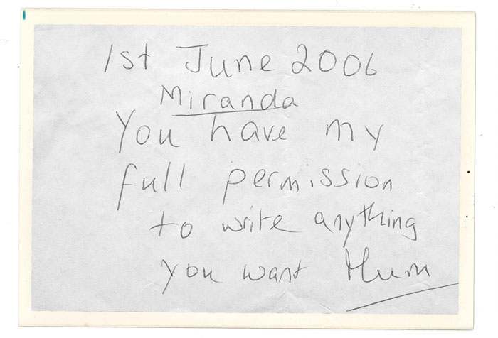 Permission note from Miranda's Mum