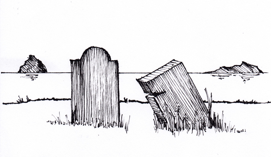 Line drawing of gravestones by the sea