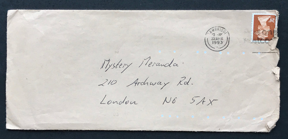 Envelope for Matt's first letter to Miranda