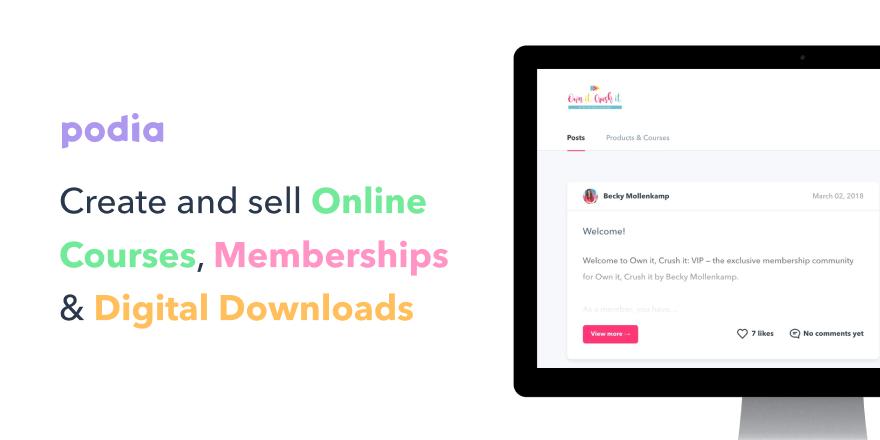 Podia Online Course and Digital Download Platform