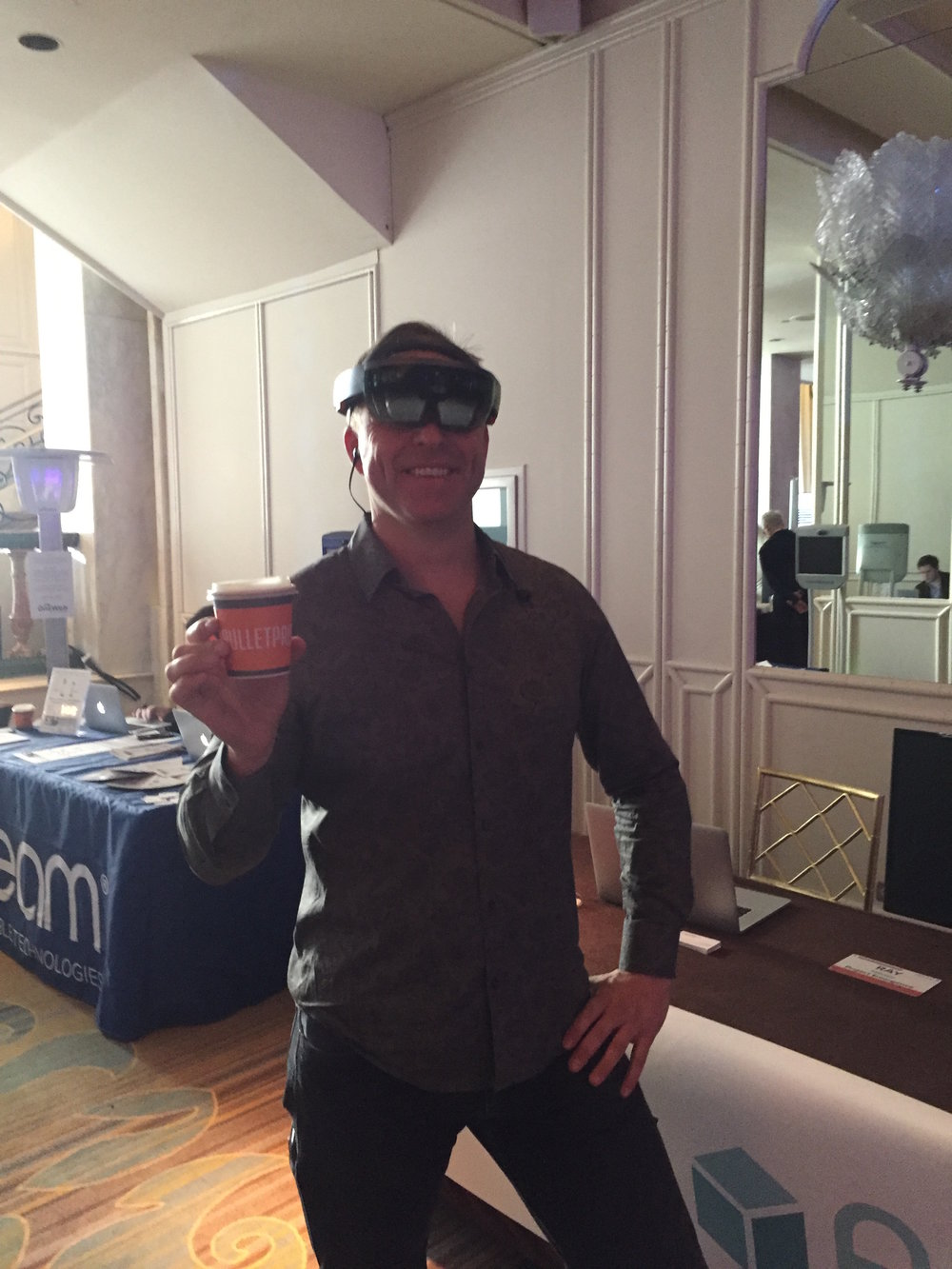 Dave Asprey, CEO of Bulletproof and renowned inventor of Bulletproof Coffee, enjoying our Augmented Reality technologies.