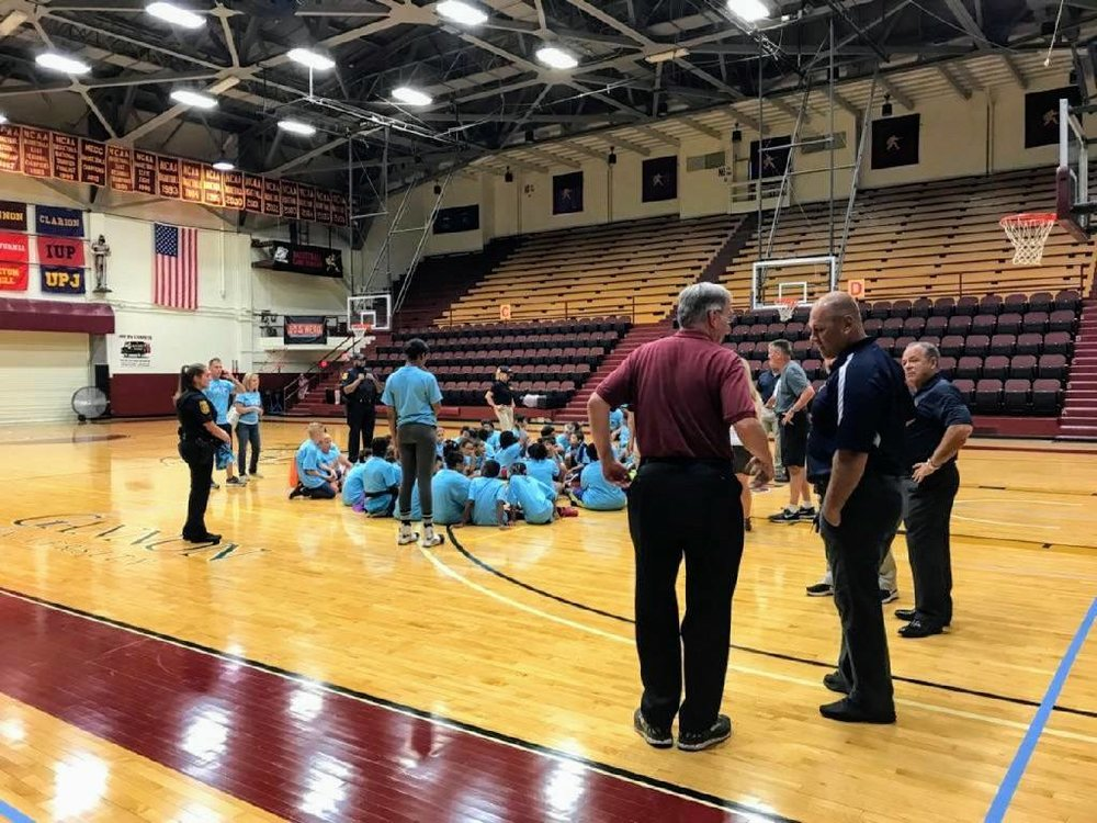 Attending the first annual Erie PAL (Police Athletic league) summer camp took place at Gannon University.