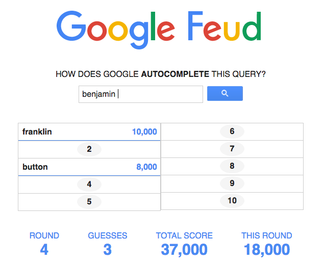 Google Feud game display