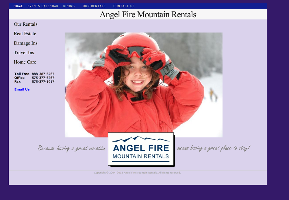 Angel Fire Mountain Rentals Website designed for a Property Management and Real Estate company