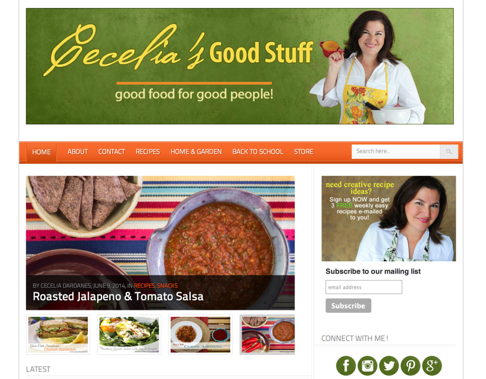 Cecelia's Good Stuff     A popular Food and Recipe Blog