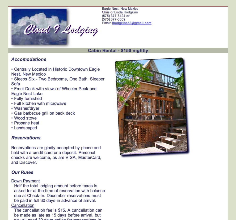 Cloud 9 Lodging A single page website for a nightly rental property.