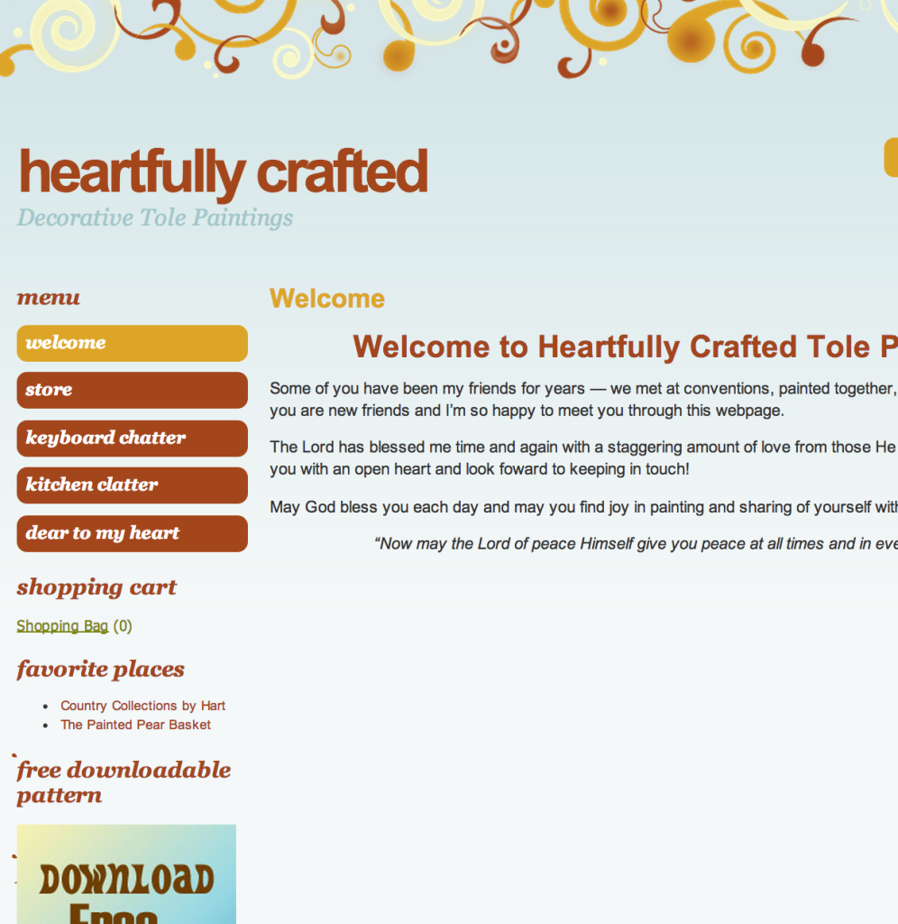 Heartfully Crafted Hobbyists website. Included online craft sales.