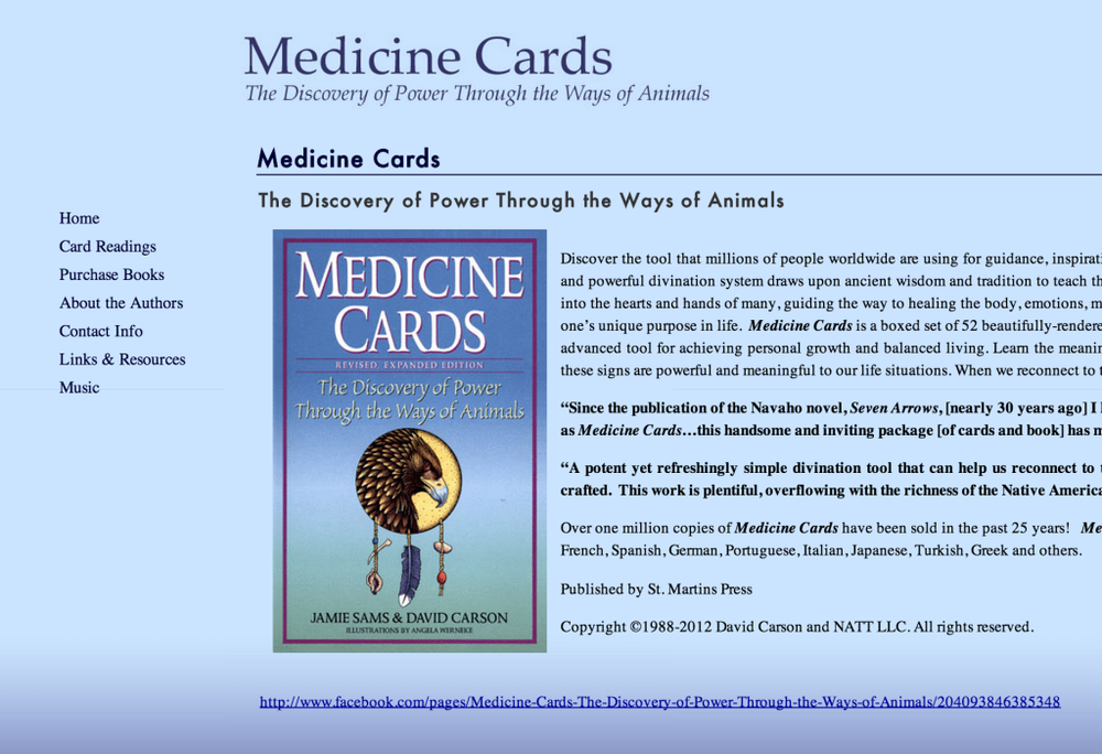 Medicine Cards      Author's website including book sales