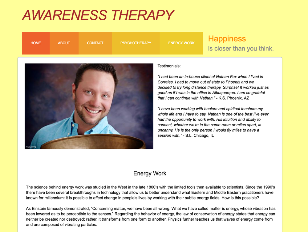 Awareness Therapist     Psychotherapy and Energy Work website