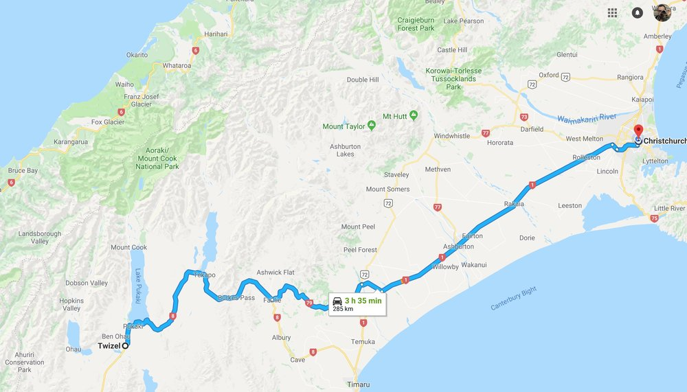 Christchurch to Twizel - I woke up at 4:30 am, but had a good sleep. We meet at 8:45am at the hotel lobby to drive close to 4 hours to Twizel where we'll stay for a night. Time to get a cup of coffee and some food at the Black and White Coffee
