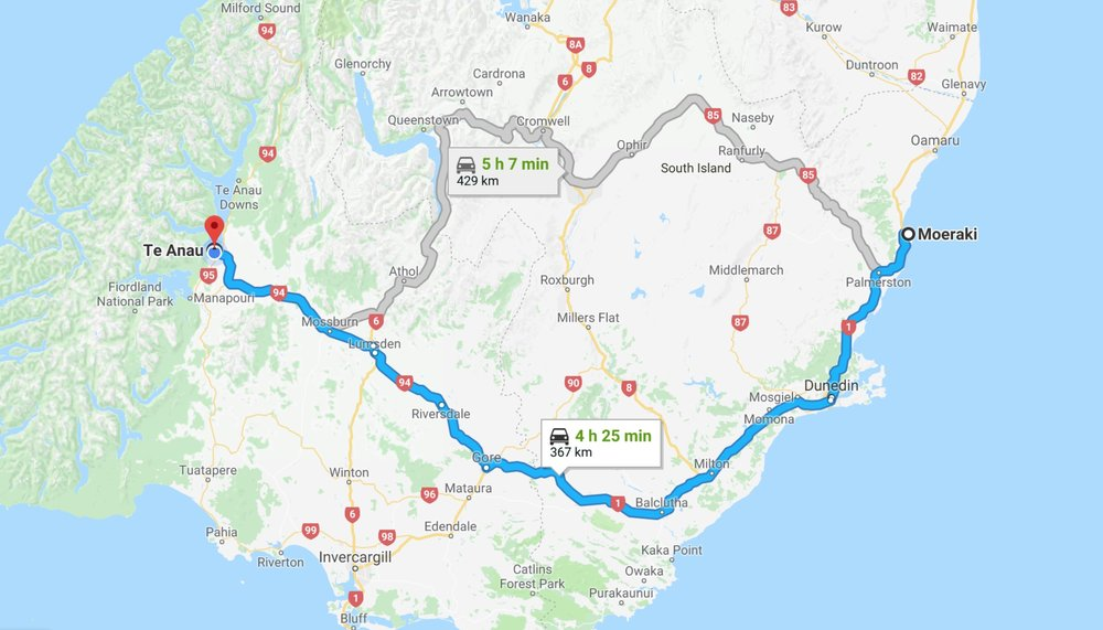 Departure to Te Anau - By 9:00 am it's over, the sun's out, the hordes of tourists are in. It's time for breakfast and to head out for a four and a half hour drive for a completely different challenge. Te Anau which will be our base for the next three days.