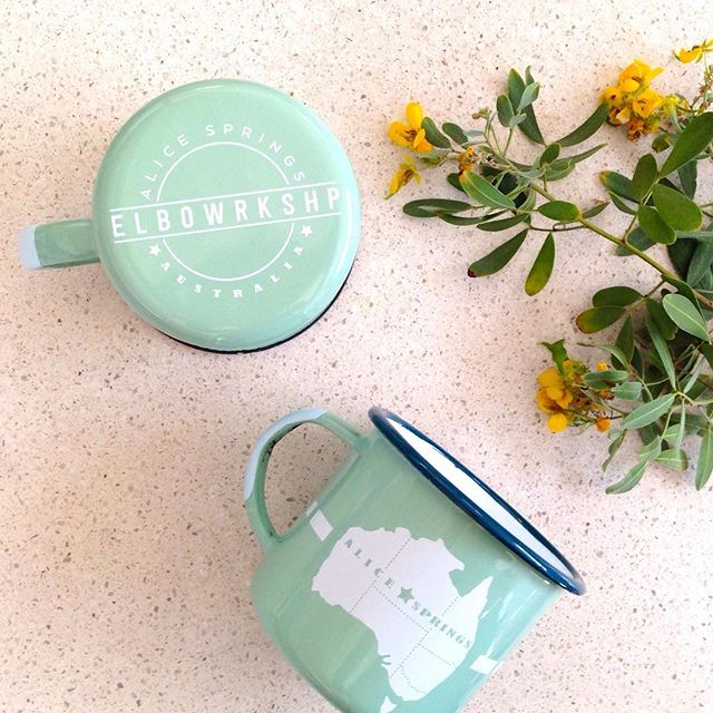 Worlds best quality #enamelmugs have just arrived! These beauties are triple baked enamel - we reckon 4 x the weight and 10 x the quality....made on WWII era plant....Workshop door sales or catch us at @the__goods for our #popupshop commencing Friday 5pm.... DM for interstate purchases #elbowrkshp #alicesprings #smallbatch #enamelware