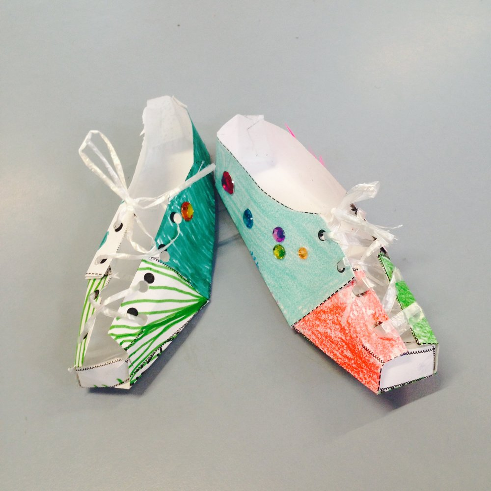 One piece shoe   2015  We thoroughly tested the design of a one-piece paper shoe with the Transistion class at Ross Park Primary today. So many wonderful designs!