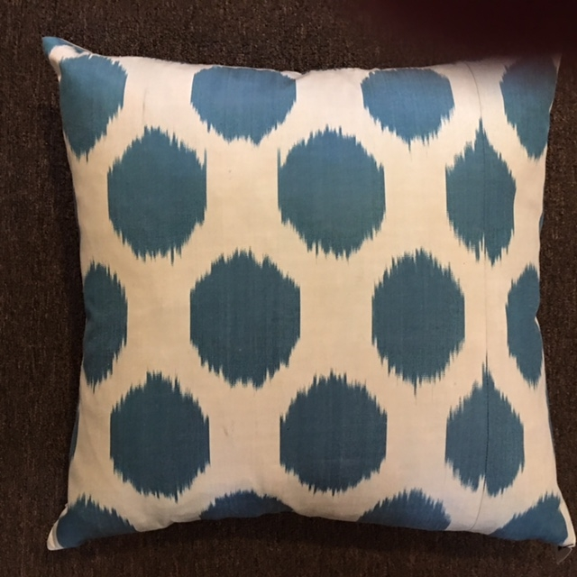 "18""x 18"" Turkish silk fabric pillow with down insert.  $115."