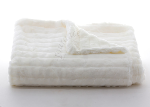 Mink Faux Fur Throw in Ivory