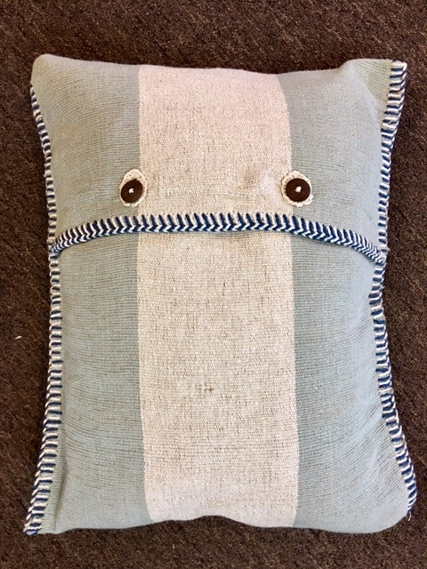 "15""x18"" Cotton pillow with down insert, hand made in Bijapur.  $130"