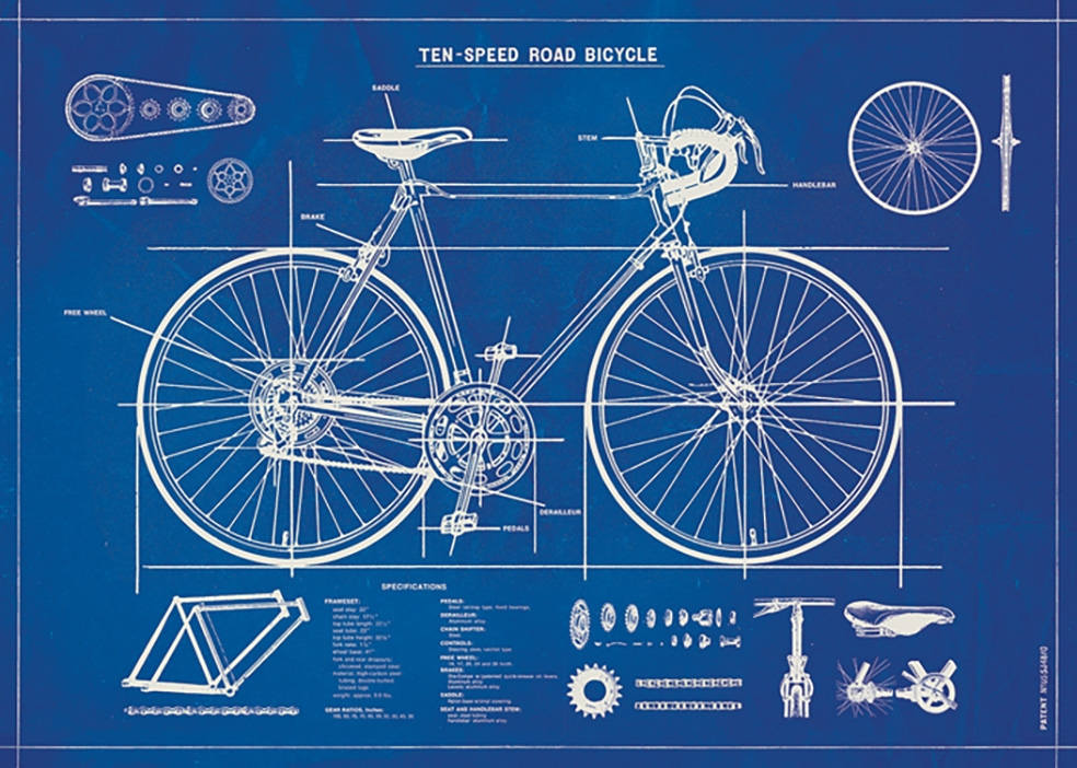 Bicycle Blueprint Wrap