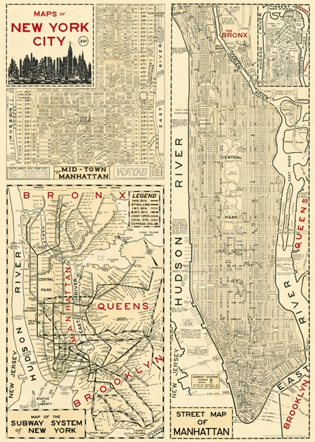 New York Map 4 Wrap