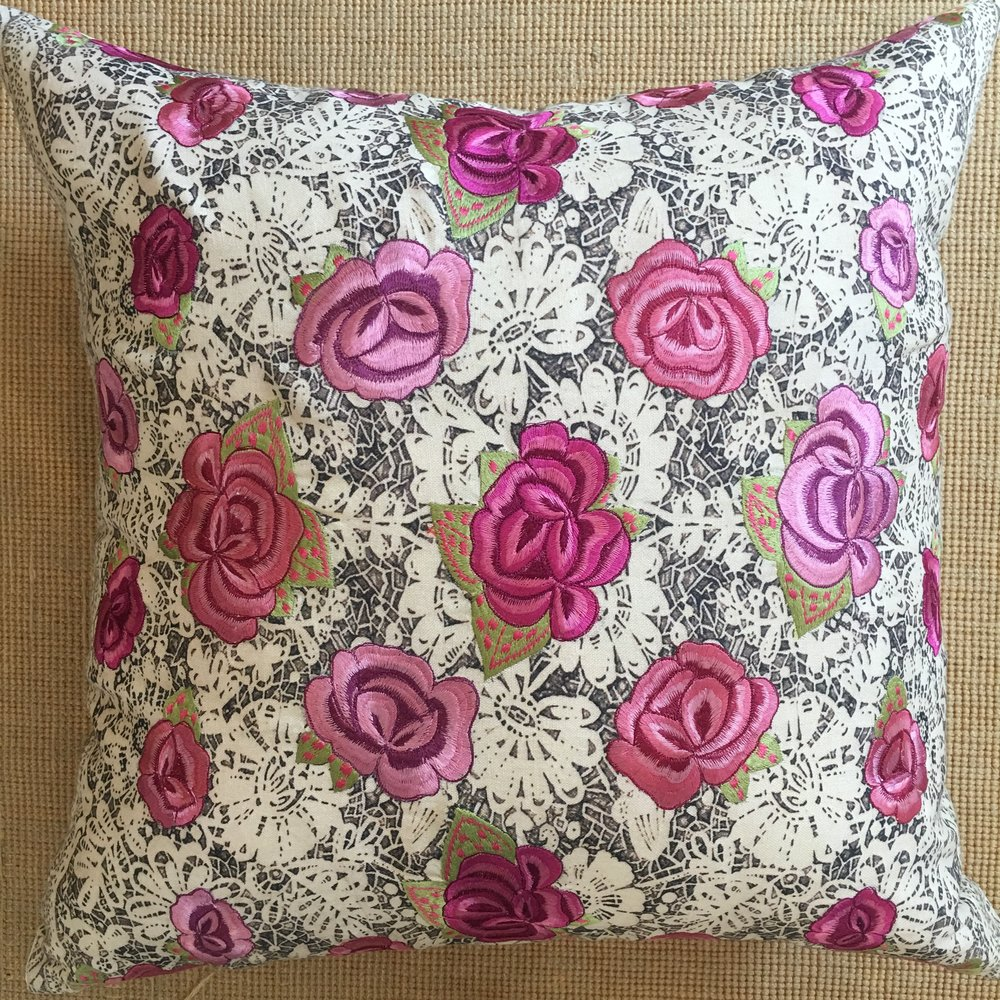 Embroidered Rose Pillow $185