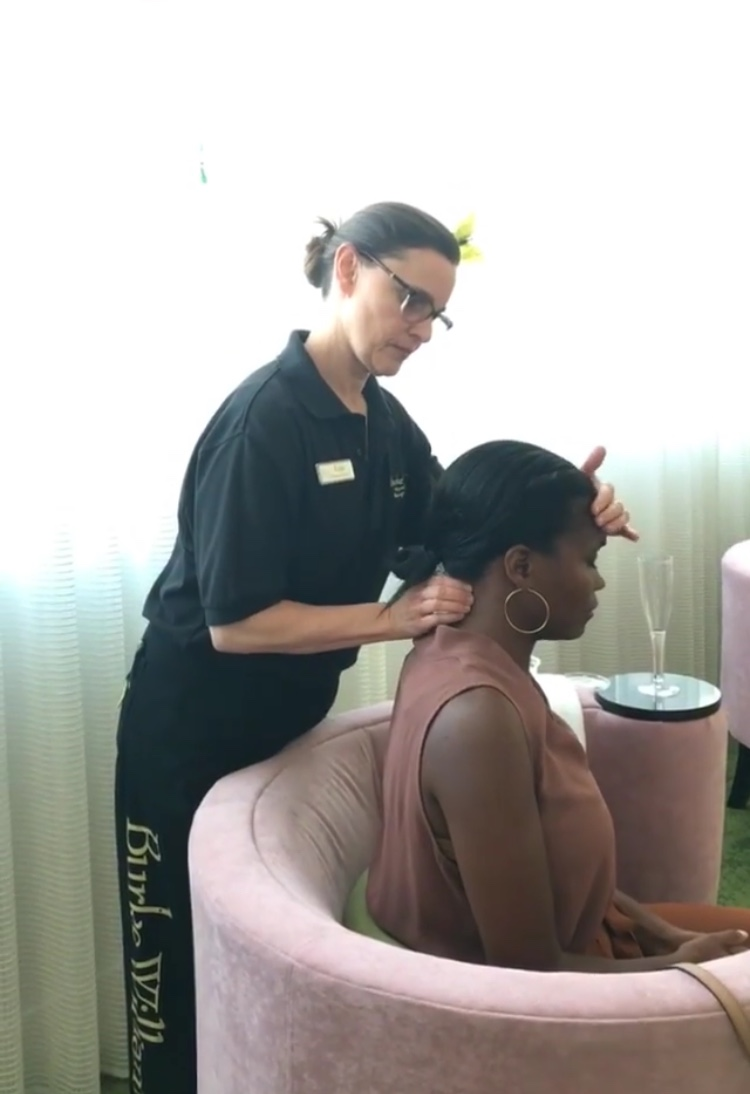 mini massage at the burke williams spring skincare event