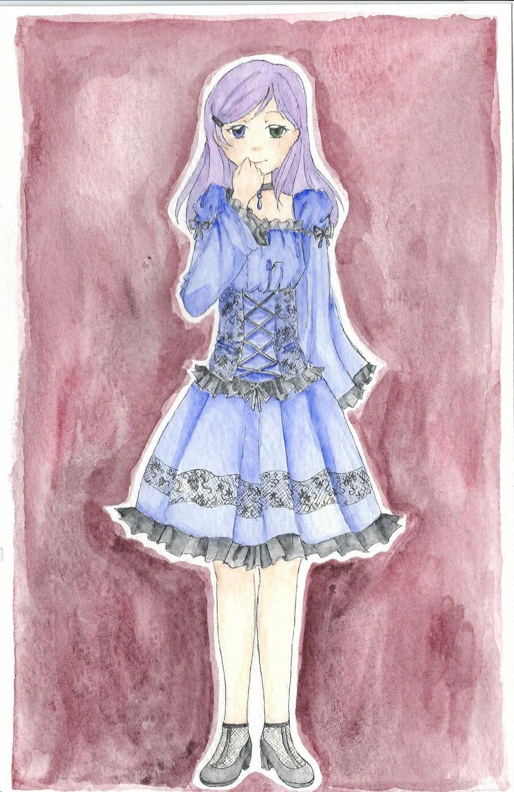 "Kansa Nightingale, ""The Weeping Iris"" Shy endearing gothic lolita. Loves rag dolls. Personality and self-esteem issues.  Quiet, timid. Age: 18 Height: 5'3"" Hair: Purple Eyes: One blue, one green Studies: Medical Arts"