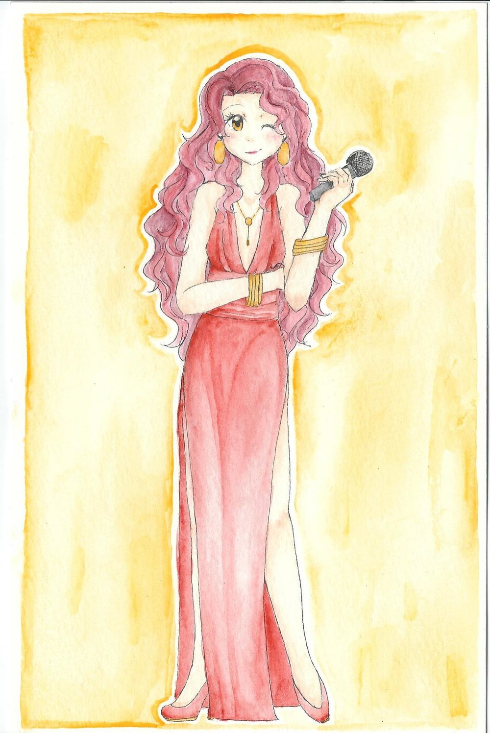 "Lacie Armonía, ""The Singing Rose"" Flamboyant beauty. From a distinguished family. Popular jazz singer. Sexy, fancy, rich. Show-off. Beauty queen. Age: 19 Height: 5'6"" Hair: Pink Eyes: Gold Studies: Magical Performance Art"