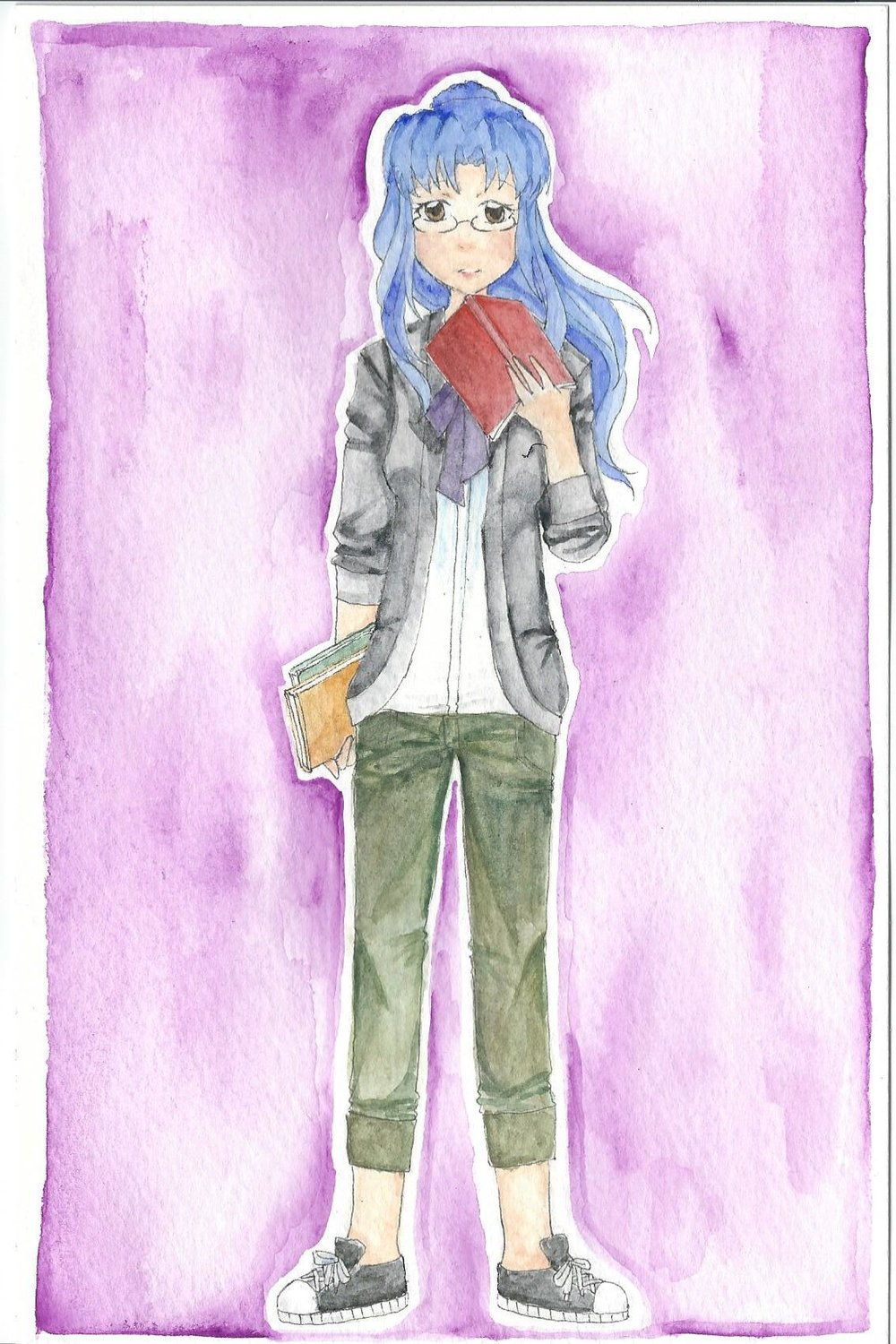 "Satsuki Mei, ""The Painting Lotus"" Sharply intelligent bookworm. Cold and uptight but cares about her friends at heart. Nerdy and chill. Age: 18 Height: 5'7"" Hair: Blue Eyes: Brown Studies: Magic Theory and History"