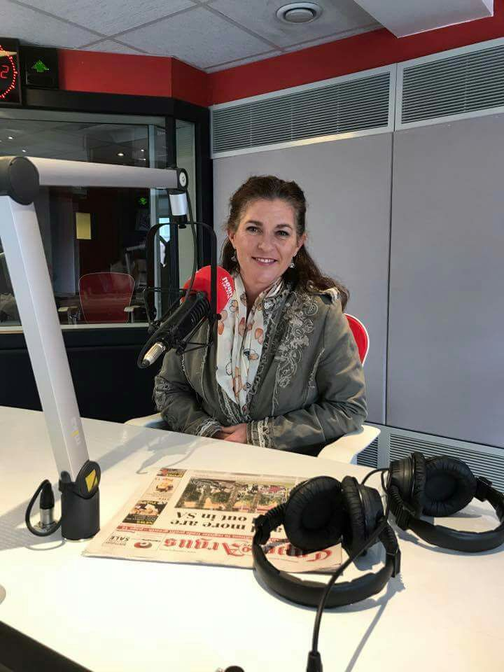 Julie of Turning Steps in the Heart FM Cape Town Studio