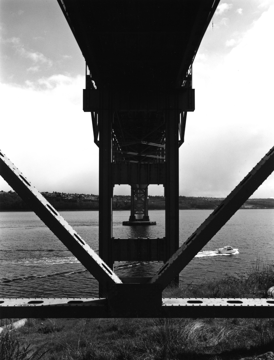 Tacoma Narrows Bridge from Beneath on the Gig Harbor side, early nineties