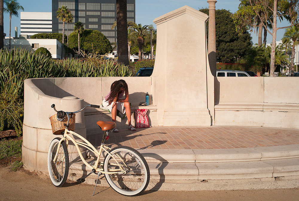 Hiding At the John P Jones Monument, Santa Monica, 2012