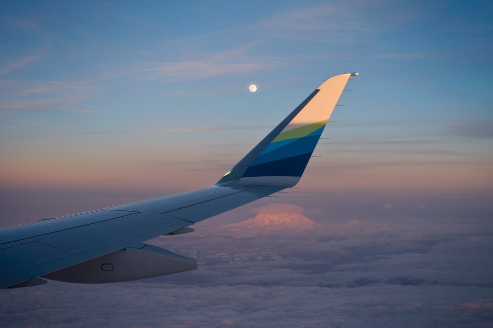 The Super Snow Moon of February over Mt Rainier from the seat of a Horizon Air  Embraer 175  ©2019 Christopher Petrich