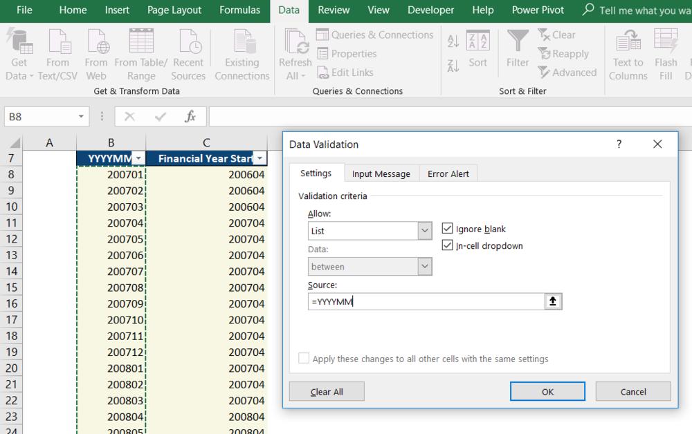 Excel data validation criteria list