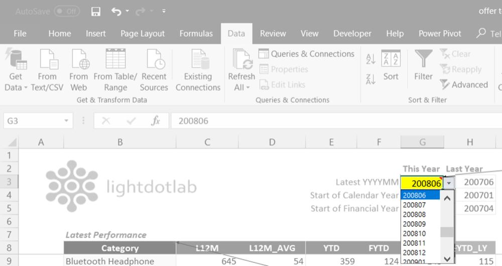 Excel dropdown list to choose YYYYMM